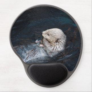 Tapis De Souris Gel Loutre mangeant le zoo sauvage aquatique de nature