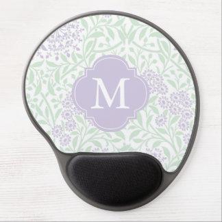 Tapis De Souris Gel Motif floral lilas vert décoré d'un monogramme de