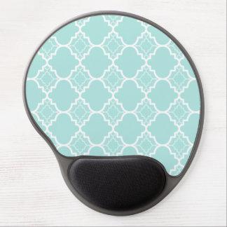 Tapis De Souris Gel Motif géométrique bleu de Quatrefoil d'Aqua