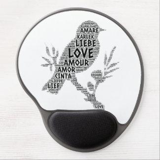 Tapis De Souris Gel Oiseau illustré avec le mot d'amour