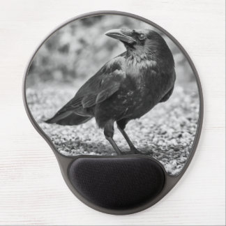 Tapis De Souris Gel Oiseau noir, corneille, sur les roches