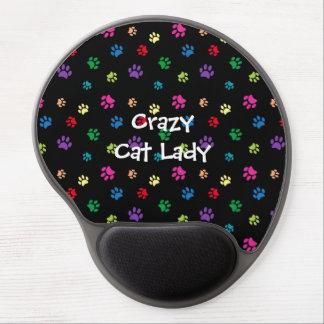 Tapis De Souris Gel Paws folle de chat de Madame Rainbow Painted