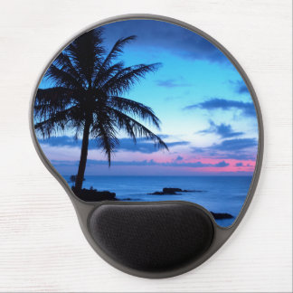 Tapis De Souris Gel Photo bleue de coucher du soleil d'île de plage de