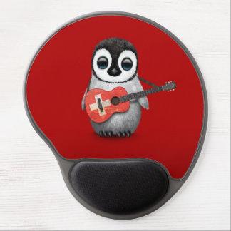 Tapis De Souris Gel Pingouin de bébé jouant le rouge suisse de guitare