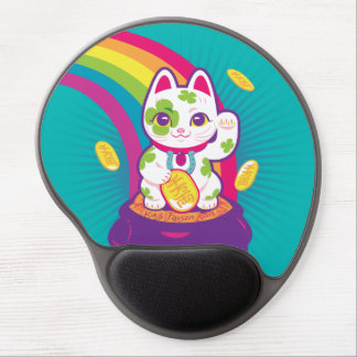 Tapis De Souris Gel Pot de bonne chance de Maneki Neko de chat d'or