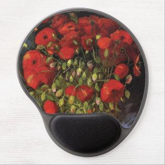 Tapis De Souris Gel Vase avec les pavots rouges par Vincent van Gogh