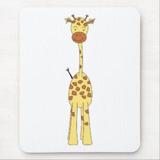 Tapis De Souris Girafe mignonne grande. Animal de bande dessinée
