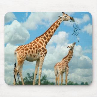 Tapis de souris girafes mère et enfant