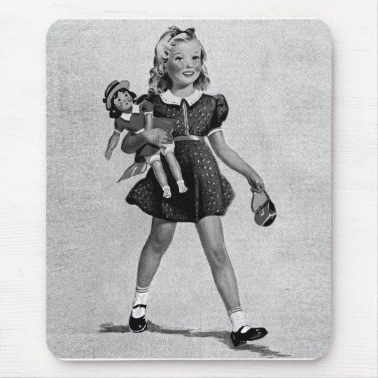 Tapis De Souris Girl heureux des enfants vintages d'enfants de