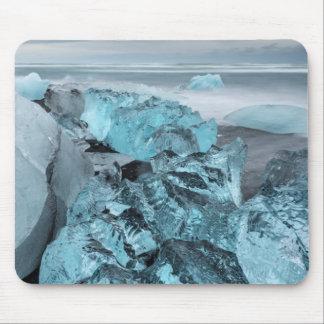 Tapis De Souris Glace bleue sur le paysage marin de plage, Islande