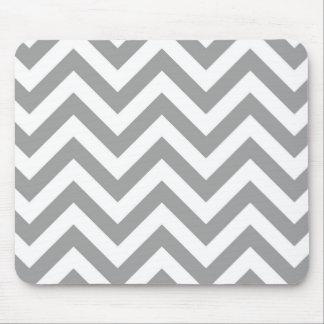 Tapis De Souris Grand motif de zigzag blanc gris-foncé de Chevron