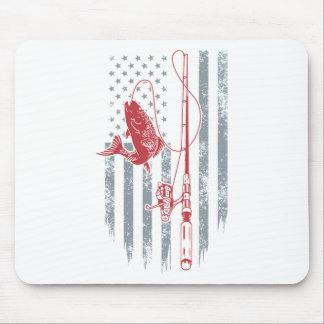 Tapis De Souris Grandes chemises de pêche de drapeau américain