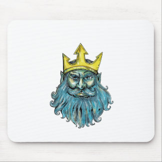 Tapis De Souris Gravure sur bois en tête de couronne de Neptune