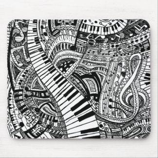 Tapis De Souris Griffonnage de musique classique avec le clavier