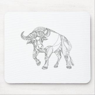 Tapis De Souris Griffonnage de remplissage de Buffalo africain