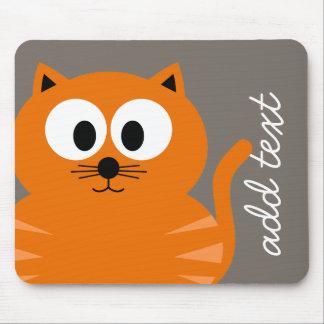 Tapis De Souris Gros chat orange mignon avec le Taupe personnalisé