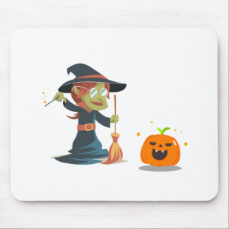 Tapis De Souris Halloween, sorcière nettoyant le citrouille