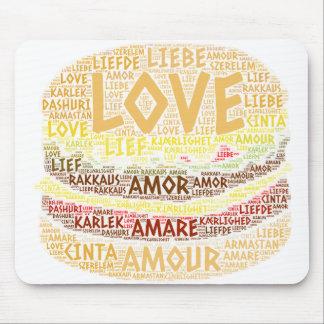 Tapis De Souris Hamburger illustré avec le mot d'amour