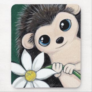 Tapis De Souris Hérisson lunatique mignon tenant une fleur