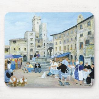 Tapis De Souris Heure du déjeuner dans un carré Toscane du marché