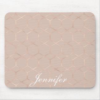 Tapis De Souris Hexagone géométrique d'or rose chic moderne votre