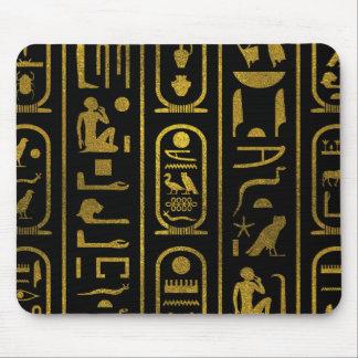 Tapis De Souris Hiéroglyphes antiques égyptiens d'or sur le noir