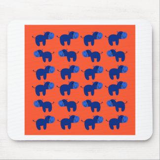 Tapis De Souris HIPPOPOTAMES de conception, conception bleue