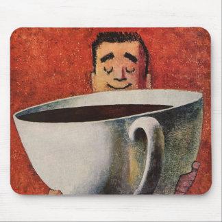 Tapis De Souris Homme heureux vintage buvant la tasse de café