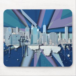Tapis De Souris Horizon | 3D bleu de New York City