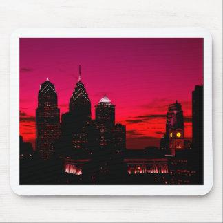 Tapis De Souris Horizon de coucher du soleil de Philadelphie