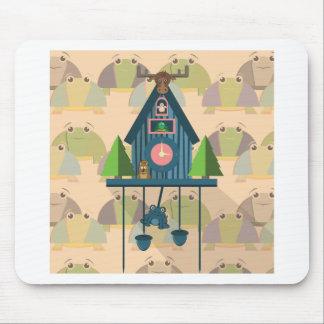 Tapis De Souris Horloge de coucou avec le papier peint de tortue