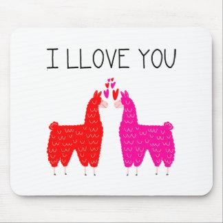 Tapis De Souris I Llove vous couples de lama
