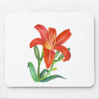 Tapis De Souris Illustration botanique de lis orange
