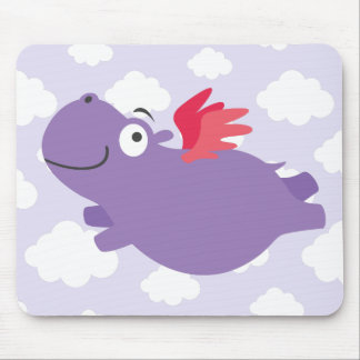 Tapis De Souris Illustration d'hippopotame de vol