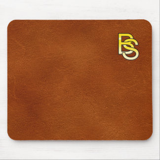 Tapis De Souris initiales  B et S en or sur fond de cuir