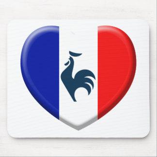 Tapis De Souris J'aime coq drapeau France