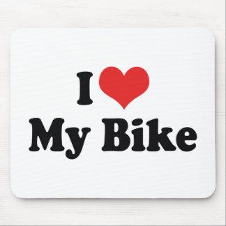 Tapis De Souris J'aime le coeur mon vélo - amant de moto de
