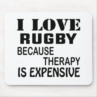 Tapis De Souris J'aime le rugby puisque la thérapie est chère