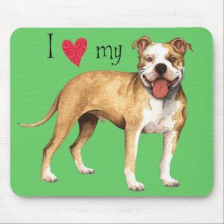 Tapis De Souris J'aime mon pitbull Terrier
