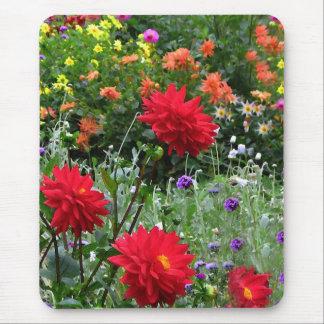 Tapis De Souris Jardin d'agrément coloré Mousepad de dahlia