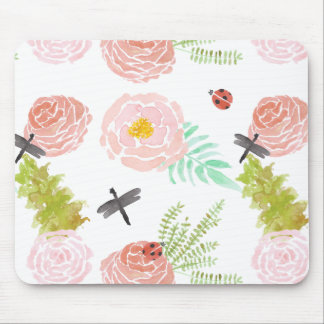 Tapis De Souris Jardin d'aquarelle de roses de libellules