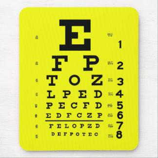 Tapis De Souris Jaune médical de diagramme d'oeil d'optométrie