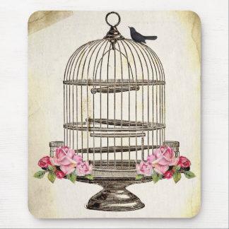 Tapis De Souris Joli merle se reposant sur la cage à oiseaux
