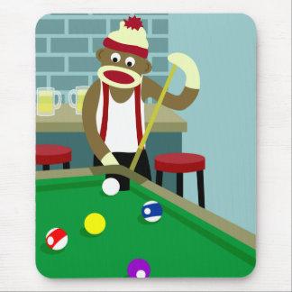 Tapis De Souris Joueur de billards de piscine de singe de