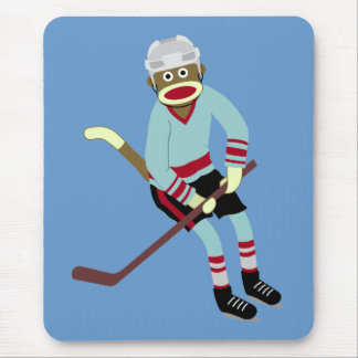 Tapis De Souris Joueur de hockey de singe de chaussette