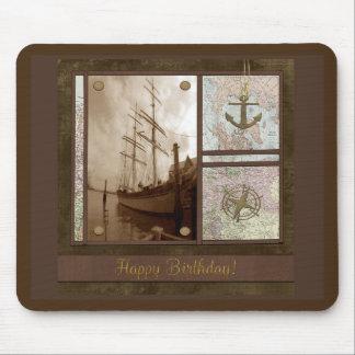 Tapis De Souris Joyeux anniversaire, bateaux grands, ancre,