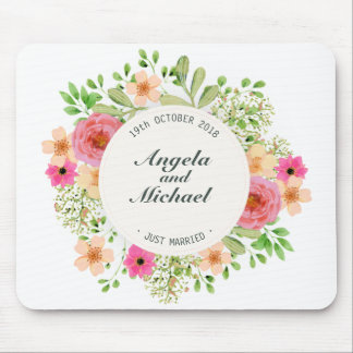 Tapis De Souris Juste mariage floral marié élégant | Mousepad