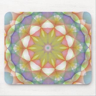 Tapis De Souris Kaléidoscope cranté multicolore de fleur