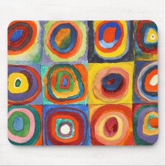 Tapis De Souris Kandinsky - carrés avec les cercles concentriques