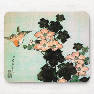Tapis De Souris Katsushika Hokusai (葛飾北斎) - ketmie et moineau